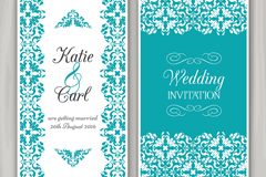 蓝绿色花纹婚礼邀请卡矢量素材