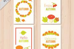 4款彩色你好秋季卡片矢量素材