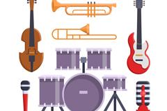 7款创意音乐工作室乐器矢量图