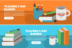 3款创意教师节办公桌banner矢量图