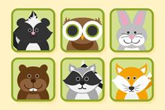 6款呆萌森林动物头像矢量素材