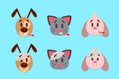 9款创意生病宠物头像矢量图