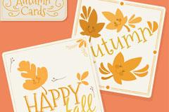 2款可爱秋季树叶卡片矢量素材