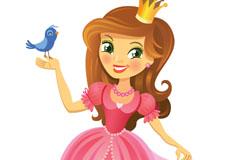 卡通公主和小鸟优发娱乐官网矢量优发娱乐