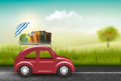 郊外红色自驾游车和行李矢量梦之城娱乐