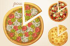 6款美味披萨快餐设计矢量素材