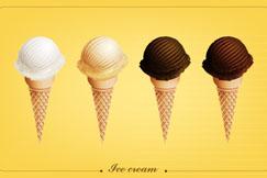 4支美味夏季甜筒冰淇淋矢量图