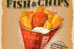 美味炸鱼和薯条海报矢量素材