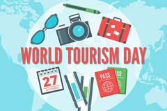 创意世界旅游日元素矢量素材