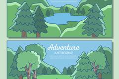 2款彩绘森林与湖泊风景矢量图
