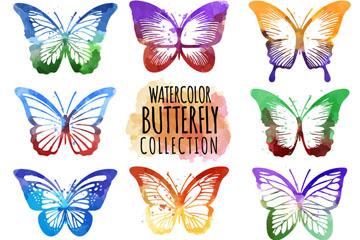 11款水彩绘蝴蝶矢量素材