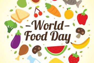 彩色世界粮食日食物贺卡矢量图