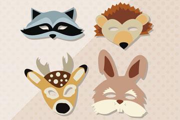 6款卡通动物面具矢量素材