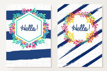 2款彩绘打招呼卡片矢量素材