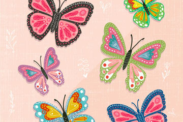 6款彩色蝴蝶设计矢量素材
