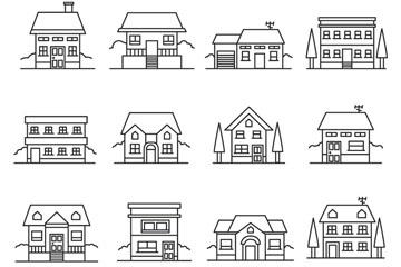 16款创意细线条建筑设计矢量图