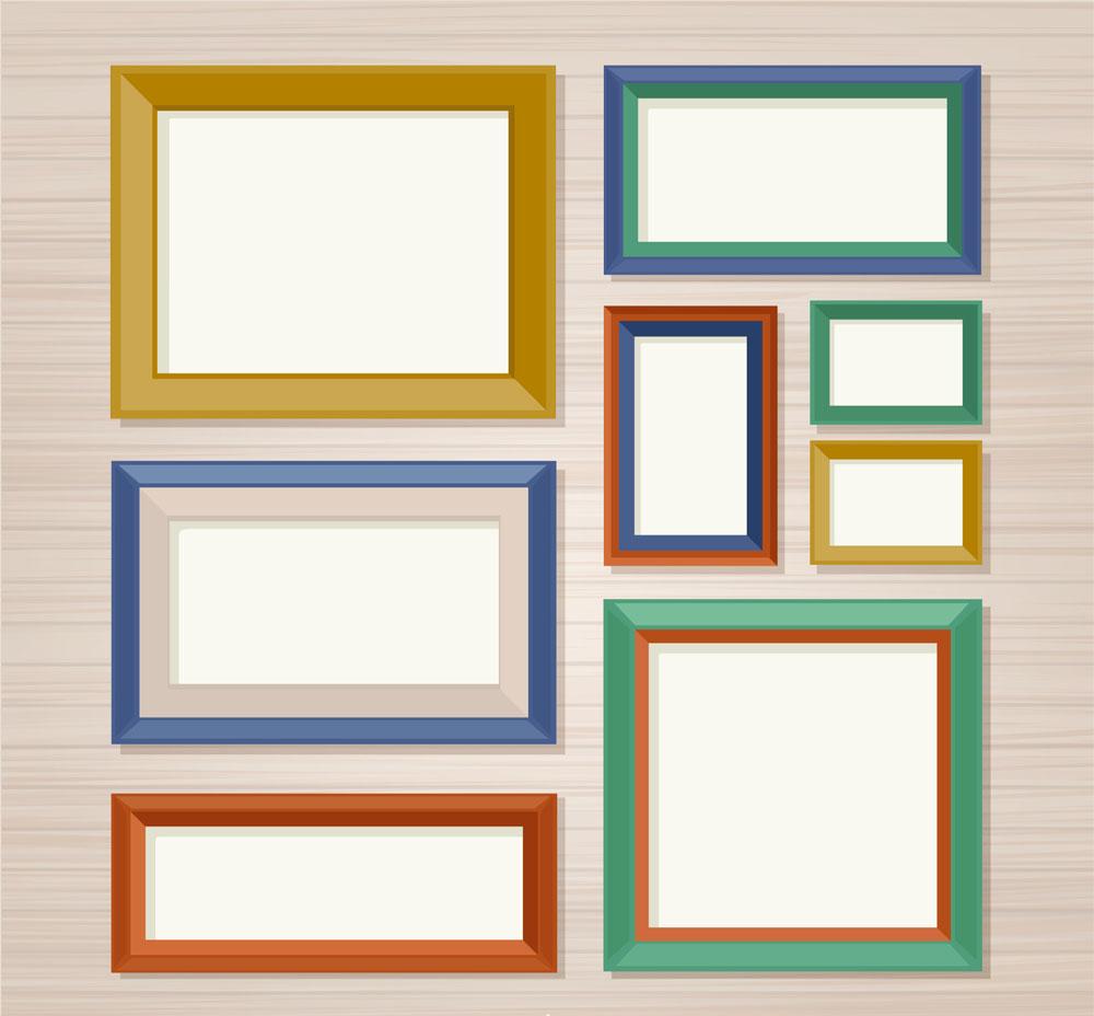 ai格式,含jpg预览图,关键字:装饰物,墙壁,相框,空白,家居,照片墙,矢量