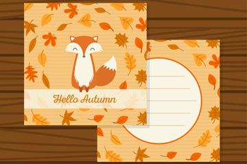 可爱秋季狐狸卡片矢量素材