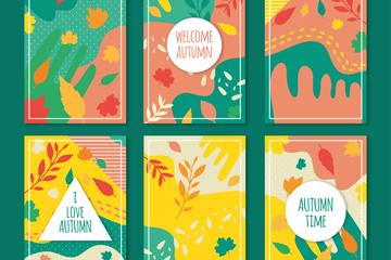 6款扁平化彩色秋季卡片矢量素材