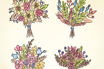 4款彩绘美丽花束矢量素材