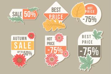 6款创意秋季折扣标签矢量素材