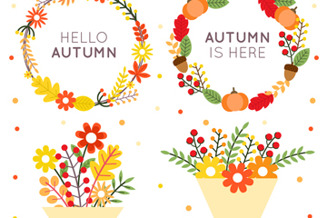 4款鲜艳秋季花环和花束矢量素材