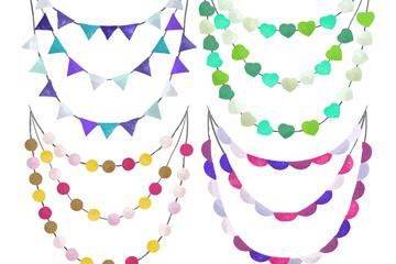 4款彩绘派对拉旗和彩灯串矢量素材