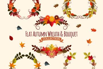 6款扁平化秋季花束和花环矢量图