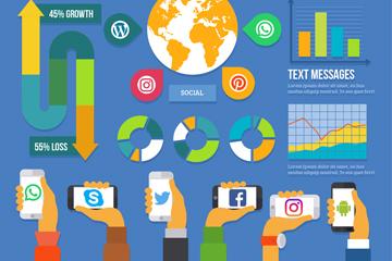 精致社交媒体信息图矢量素材