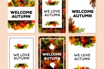 6款彩色秋季落叶卡片矢量素材