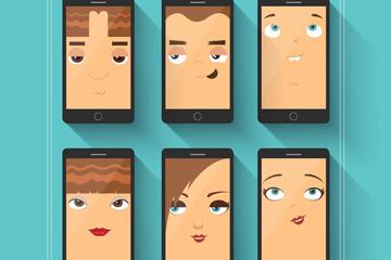 6款创意手机内人物头像矢量图