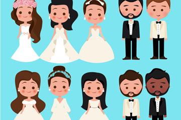 6款卡通新娘和4款新郎矢量图