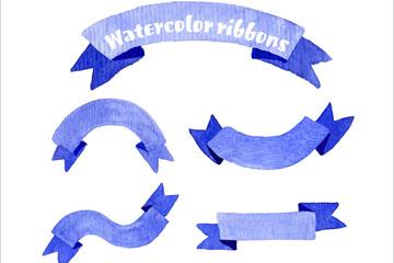 7款蓝色水彩绘条幅矢量w88优德