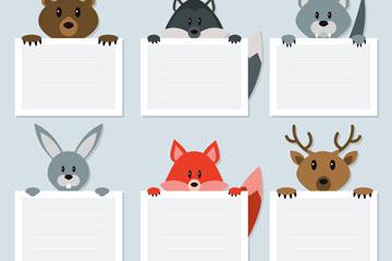 6款创意森林动物标签矢量素材