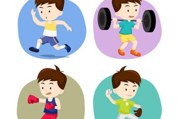 4款卡通运动男孩设计矢量素材