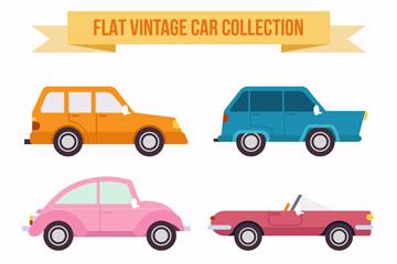 6款扁平化复古车辆矢量图