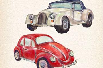 2款水彩绘老式车矢量素材