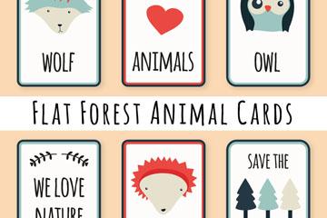 6款扁平化森林动物元素片矢量素材