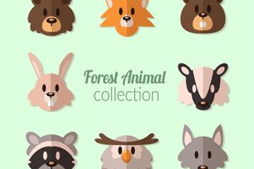 8款扁平化森林动物头像矢量图