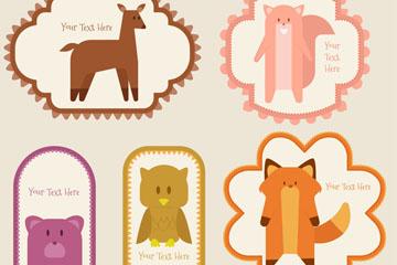 5款彩色森林动物标签矢量素材