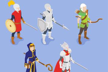 5款立体游戏人物设计矢量素材