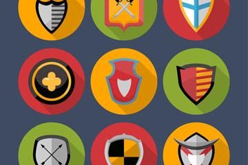 9款圆形盾牌图标矢量素材