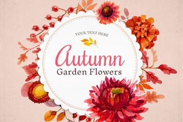 秋季花园花卉装饰标签矢量图