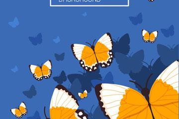 橙色蝴蝶群设计矢量素材