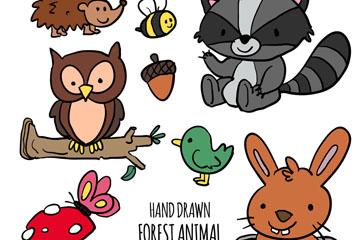 7款彩绘森林动物矢量素材