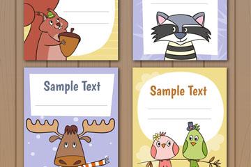 4款可爱动物留言卡片矢量素材