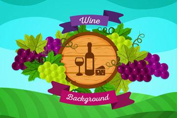 扁平化农场葡萄酒矢量素材