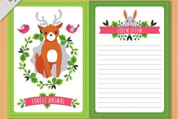 清新森林动物信纸矢量素材