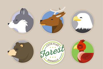 8款森林动物侧脸头像矢量图