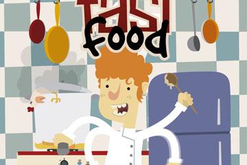卡通厨房里忙碌的厨师矢量素材